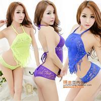 Sexy apron halter-neck transparent sleepwear women's fishnet stockings sexy underwear temptation Chinese-style chest covering