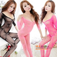 Plus size xxl jumpsuits socks sexy tight temptation open fork pantyhose one piece netting fishnet stockings Transparent