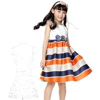 Free shipping 2014 summer new arrivales girls dresses one-piece dress girl dress princess striped dress