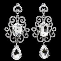 7 Colors Zinc Alloy Platinum Gold Plated Rhinestone Water Drop Wholesale Crystal Drop Earrings Fashion Bridal Wedding Jewelry