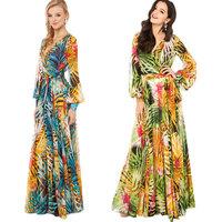 XS - XXL Summer Tropical Rainforest Flower Print Chiffon Long Sleeve Dress Women Bohemian Plus Size Maxi Dress 2014 New Brand