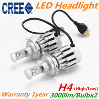2pcs/lot  2014 New CREE 6000lm LED Headlight Kit Bulb H4 HB2 9003 High / Low Beam Car Day Driving Fog Light Lamp Xenon White