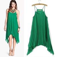 XS - XXL Orgnan Pleated Chiffon Dress Women Plus Size Green Spaghetti Strap Asymmetrical Dresses 2014 Summer New Brand