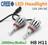 2pcs/lot 2014 New CREE 4000lm LED Headlight Kit Bulb H8 H9 H11 H16(JP) Car Driving Light Lamp Xenon White 12V 24V