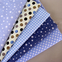 Freely Choose 40*50cm 5pcs Star Print Dot Blue Cotton Fabric Quilting Patchwork Tilda Doll Cloth Baby BeddingTextile For Sewing
