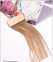 Fashion gold tassel necklace fringe long necklace metal necklace