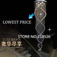 luxury best K9 double spiral crystal chandelier light for home/hotel/restaurant/stair decoration 110V-240V