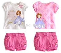 Wholesale  Baby Girls clothing sets girl's Sofia princess Bow flower sets short-sleeve shirts+short Children's clothing sets