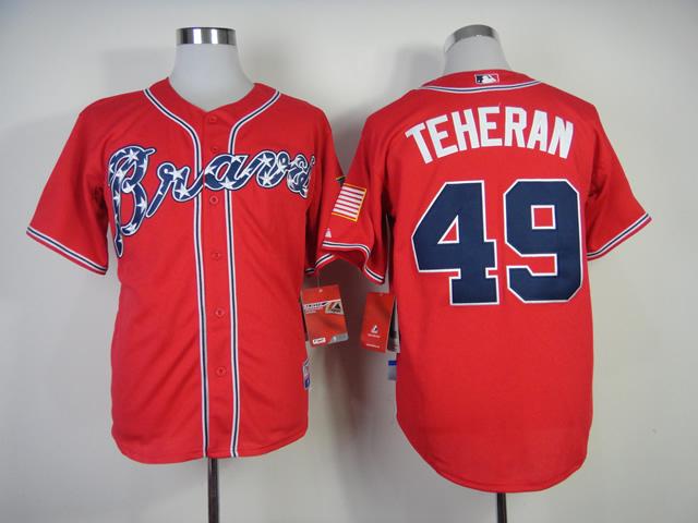 Atlanta Braves Jersey #49 Julio Teheran Red Cool Base Baseball Jersey Embroidery Logos,All Stitched(China (Mainland))