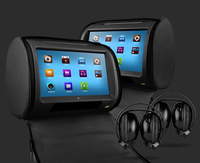 "2x9"" Touch Screen Car DVD Headrest Player +2 IR headphone + 1 Joystick, Grey Color, Italian Russian French Spanish Menu"