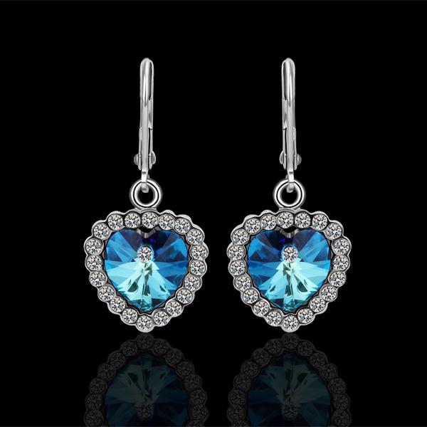 Classic Designer Real Rhinestone Ocean Heart Dangle Earrings Women Fashion Bridal Statement Brincos Bijoux Platinum Jewelry E022(China (Mainland))