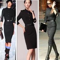 2014 New Style Women's European Shoulder Epaulettes Three-Quarter-Sleeve Dress