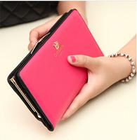 New 2015 portefeuille women female solid leather candy-colored bag long cute wallet purse bolsa carteiras femininas em couro
