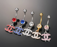 Free Shipping 316Steel Body Jewelry Diamond Belly Ring Belly Button Rings