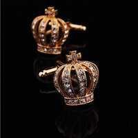 Gold Crown Crystal Silver Mens Wedding Party gift shirt cufflinks cuff links