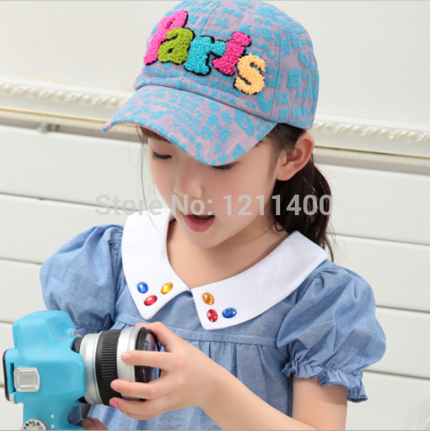 Free shipping Spring and summer cute boys and girls hat with embroidery infant lovely cricket-cap for 5-10 years children cap(China (Mainland))