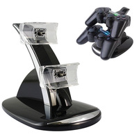 LED Indictor Dual USB Port Dock Station Charging Stand For PS3 Controller