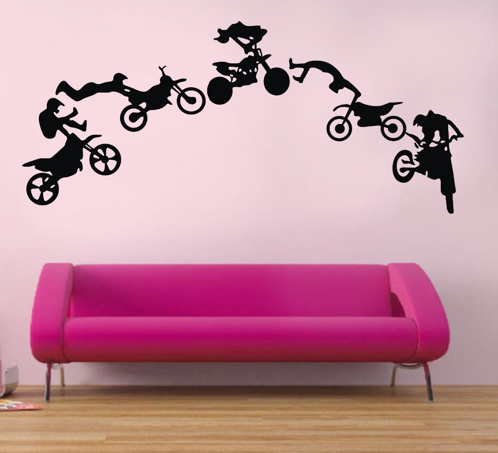 Wall Sticker Motorbike Poster Wall Decal Vinyl Stickers Black Art