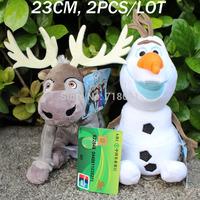20/23CM,2PCS/LOT,Plush Stuffed Toy Frozen Olaf/Sven,Classic Toys,Kids Gifts,Free Drop Shipping