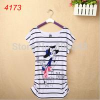 24 Style, New 2014 Fashion Cotton Tops Tee  Women Cartoon T Shirts Short Sleeve White Brand Flag Tees