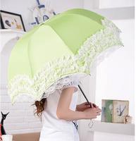 Lace Princess Sunny Umbrella Folding Fashion Sun Protection Umbrella Super Rainy Umbrella Free shipping
