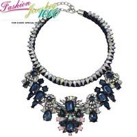 2014 Luxury Vintage Rainbow Flower Big Shourouk Chunky Statement Collar Choker Necklace Fashion BluePendant Jewelry For Women