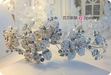 T h fashion bride handmade big freshwater pearl beaded hair bands hair accessory marriage accessories jewelry
