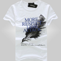 2015free shipping men's t shirt ,new  hot sell summer fashion  short sleeve printed with feather  men's o-neck t-shirt 16