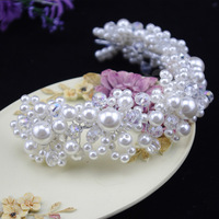 2014 new fashion luxry dense pearl elegant bridal hair accessories handmade tiara White red wholesale