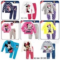 Retail 2014 fashion children's sets baby's sets Girls Minnie Mouse Hello kitty clothing sets cartoon pajamas sets shirts+pants