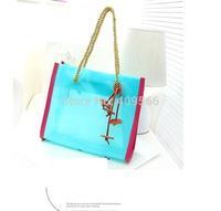 Crystal Small Flower Diagram Beach Bags 2014 Summer New Hot Selling Women's Handbag PVC Shoulder Bags Totes Free Shipping