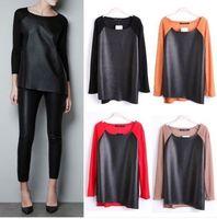 2014 Spring Women Fashion Blouse Front PU Leather Stitching Long Sleeve Blouses Blusas Femininas