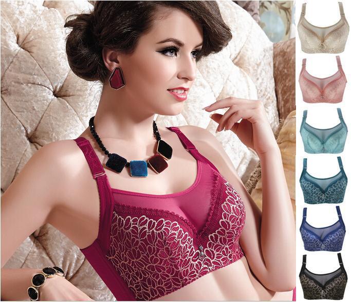 Women Sexy brassiere 80 85 90 95 100 C D big size Red Black Blue underwear Super Push Up Intimates Female Bra Tops lingerie(China (Mainland))