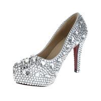 2014 New Women High Wedges Rhinestone Platfom Heels Female Crystal Sparkly Princess Pumps Prom Party Evening Wedding Dress Shoes