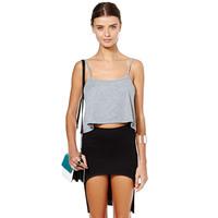 2014 NEW ARRIVAL Free Shipping Women Summer Irregular Black Front Short Back Long Skirt Fashion Skirt Pencil Skirt
