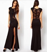 Europe Sexy Split long dress Lace backless nightclub dress Women's evening dress big size