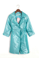 1030 Great Quality Women Dots V-Neck Shinning Long Sleeve Dress Wind Coat Jacket