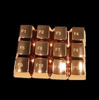 Original Keycaps Golden Keys MKC OEM Metal F1-F12 12pcs Key for Gaming Keyboard Mechanical Keyboard Dota 2  CF Gamer