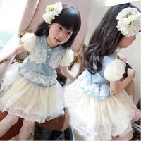 Free Shipping 2014 summer Girls princess Dress children's clothing denim lace summer baby one-piece Dress Kids Dress