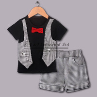 2014 Fashion Boy Clothing Sets White Shirt Grey Short For Boy Suits With Red Bow Tie Children Wear  Kids Clothes Free Shipping