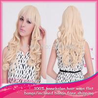 Free Shipping 1Pcs/Lot  Free Gift Cap  Blonde Cosplay Wigs Synthetic Wavy Wigs Party  Women's  Wigs  Kanekalon  Flat Bangs