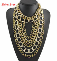 2014 New Design Chunky Metal Gold Plated Multirow Long Chain Choker collar Statement Necklace Women Jewelry Item B99