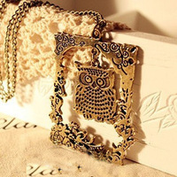 fashion accessories vintage carved cutout owl female necklace xl140