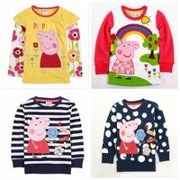 Peppa pig clothing,nova,new 2014,pepa pig clothes,kids girl clothes,children outerwear,baby wear,long sleeve girls' t-shirt
