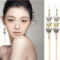 fashion Bohemia cutout butterfly long tassel drop earrings
