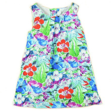 girl dress blue flower oil painting girl dresses new fashion 2015 cotton  floral dresses children clothing dresses(China (Mainland))
