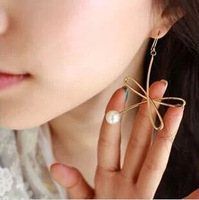fashion cute metal flower pearl dangle earrings for women