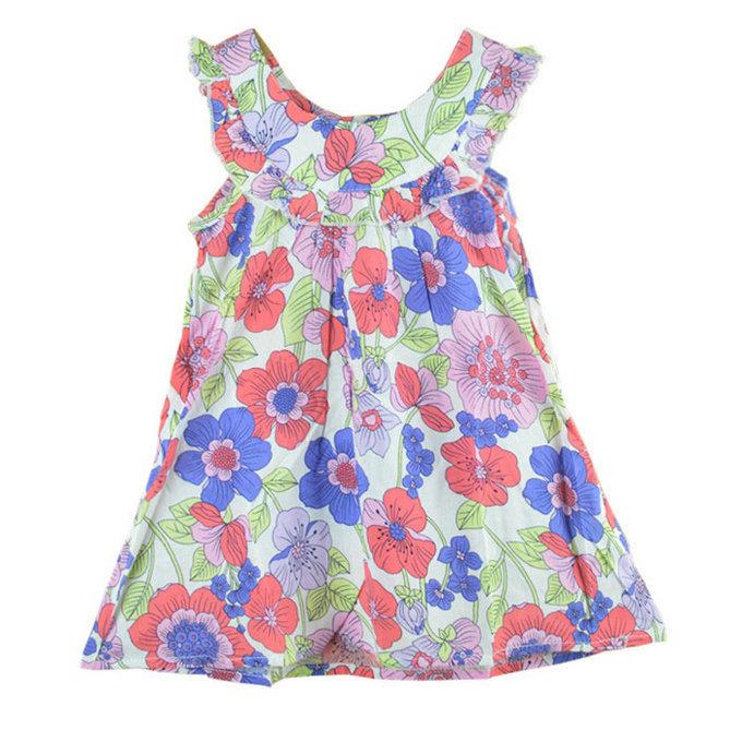 girls dress new designer cotton 2015 summer flower child clothing baby dress princess dress summer child dress(China (Mainland))