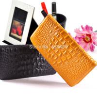 2014 Hot Sale Famous Brand Style Crocodile Pattern 100% Cowhide Genuine Leather Women Long Wallet Female Purse Luxury MBM135