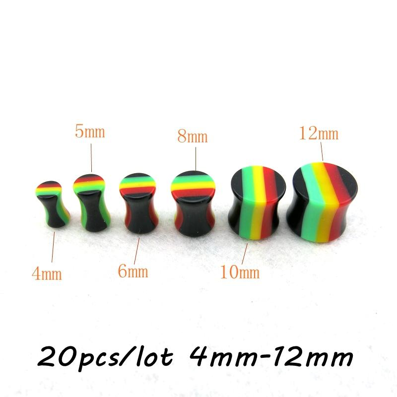 20 pcs/lot Choose One Size Rainbow Stripe Acrylic Double Flared Saddle Plugs Ear Gauges(China (Mainland))